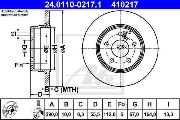 Диск тормозной Mercedes w203/c209/w210 /r171 1995 - 2011 24011002171 Ate